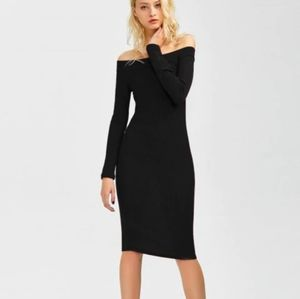 🆕⭐ Black off shoulder bodycon dress